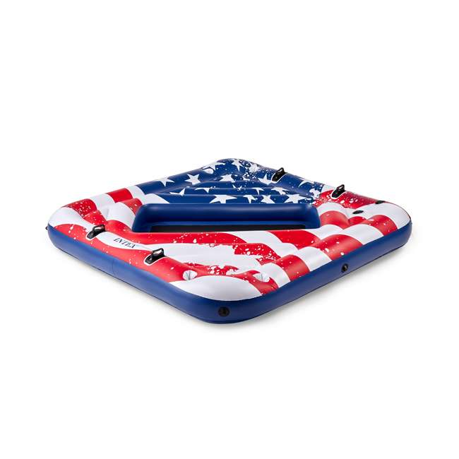 "4 x 57264VM-U-A Intex American Flag 81"" Party Island Lake Raft Pool Float (Open Box) (4 Pack) 2"
