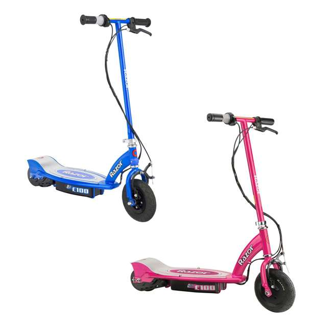 13111261 + 13111240 Razor E100 Kids Motorized 24 Volt Electric Powered Scooter, 1 Pink and 1 Blue