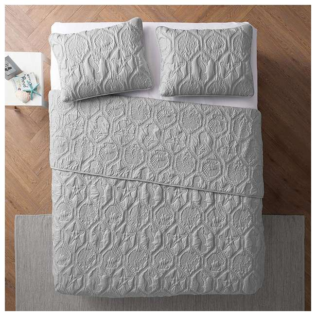 SHO-3QT-QUEN-IN-GV VCNY Home Shore Gray 3 Piece Reversible Bed Quilt and 2 Pillow Shams Set, Queen 2
