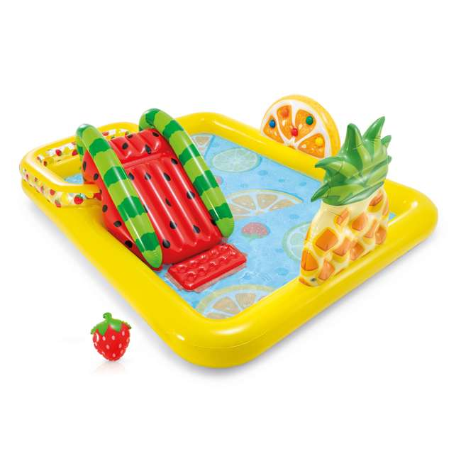57158EP Intex 57158EP Fun'N Fruity Outdoor Inflatable Kiddie Pool Play Center with Slide