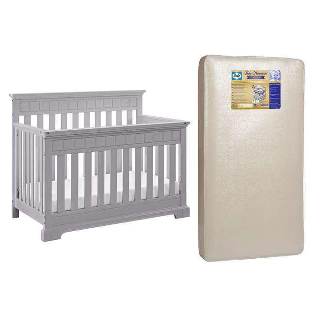 04565-50F + EM642-PHN1 Thomasville Kids Willow Crib, Pebble Gray & Sealy Posturepedic Mattress