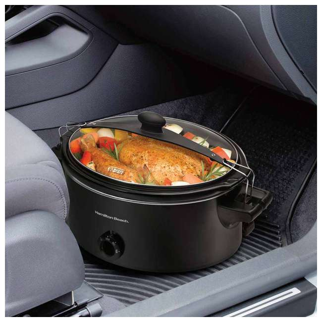 33261 Hamilton Beach 33261 Stay or Go 6 Quart Oval Slow Cooker with Handles, Black 1