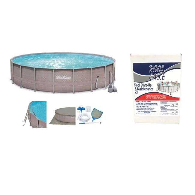 "P4G024521167 + QLC-42005 Summer Waves 24' x 52"" Above Ground Pool Set + Qualco Chemical Maintenance Kit"