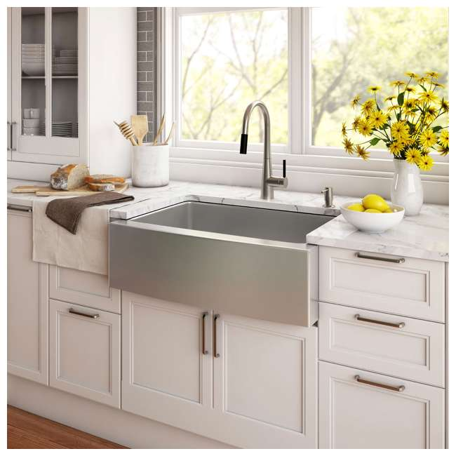 KHF200-33-OB Kraus 33-Inch Farmhouse Single Bowl Stainless Steel Kitchen Sink (OPEN BOX) 1