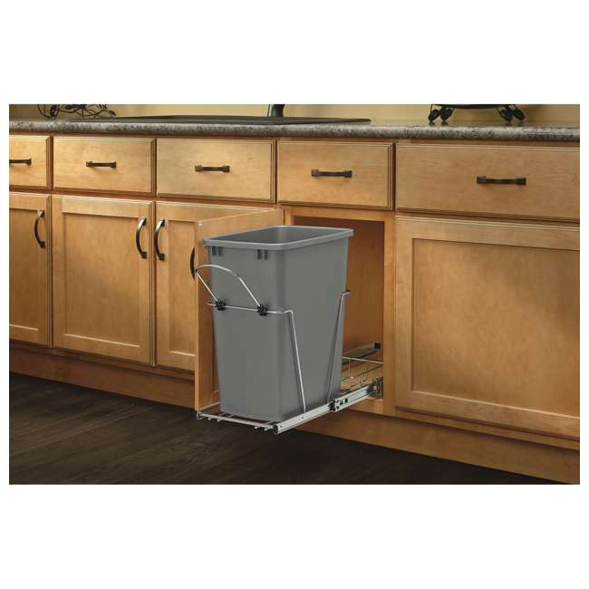 RV-12KD-17C S-30 Rev-A-Shelf RV-12KD-17C S 35 Quart Pull Out Waste Container with Basket, Silver 2