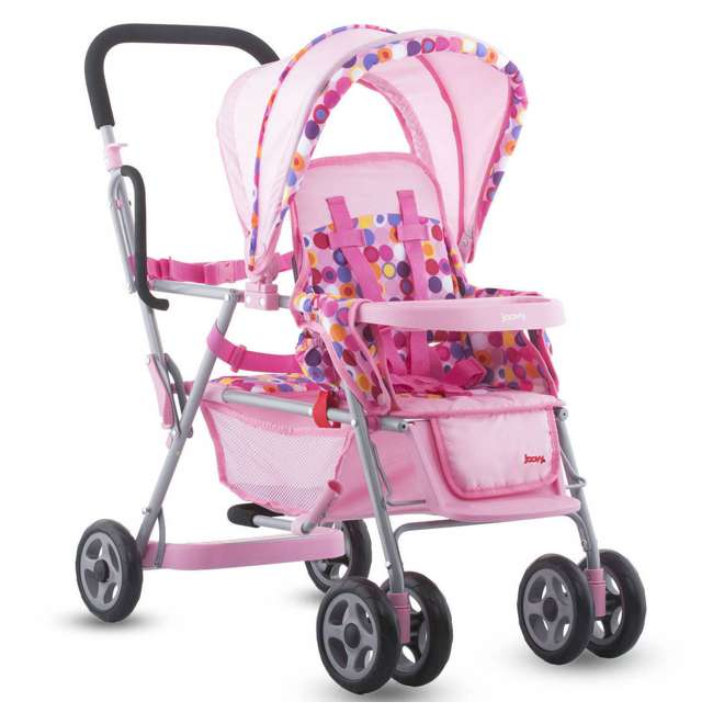 JVY-042 Joovy Toy Doll Caboose Pretend Play Tandem Stroller, Pink Dot