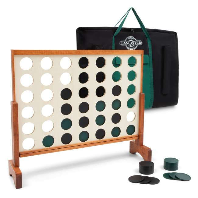 LG100Y19031 Lancaster Gaming Company Giant 4 In A Row Wooden Outdoor Gaming Set w/ Carry Bag