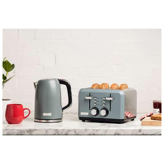 75007 Haden Perth Wide Slot Stainless Steel Body Retro 4 Slice Toaster, Slate Gray 4