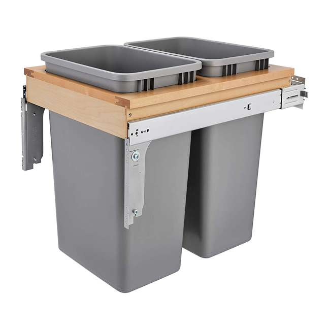 4WCTM-2150BBSCDM-2 Rev-A-Shelf 4WCTM-2150BBSCDM-2 Double Soft-Close 50 QT Top Mount Waste Container