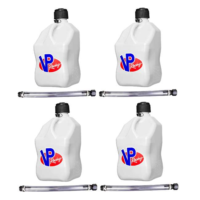 """4 x 3520 VP Racing Fuels 5-Gal. Motorsport Container, White w/ 14"""" Standard Hose (4 Pack)"""