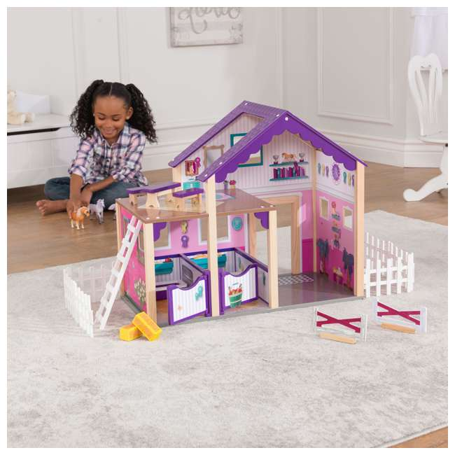 63602 KidKraft Kids Deluxe Toy Horse Stable Wooden Barn Doll House Play Set with Fence 2