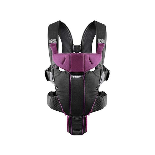 096053US BabyBjorn Baby Carrier Miracle - Black/Purple, Soft Cotton