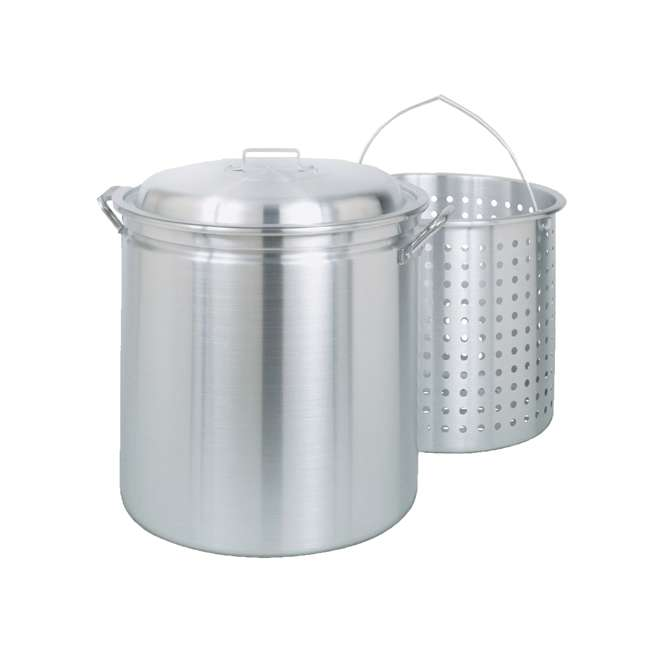 1182-U-C Bayou Classic 82 Qt Stainless Steel Stockpot Soup Pot w/ Lid Basket (For Parts)