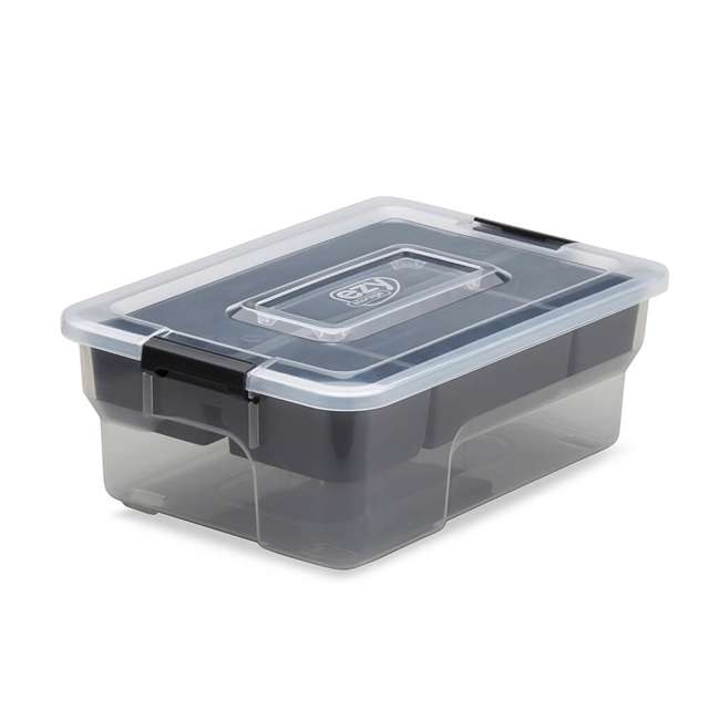 9 x FBA32237 Ezy Storage 5 Liter Sort It Storage Container with Gray Removable Tray (9 Pack) 1