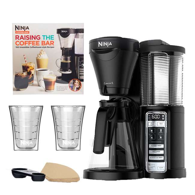 CF020 + CBCF080 + 2 x CF14HOMEW Ninja Coffee Brewer + Recipe Book + 14-Ounce Cup (2 Pack)