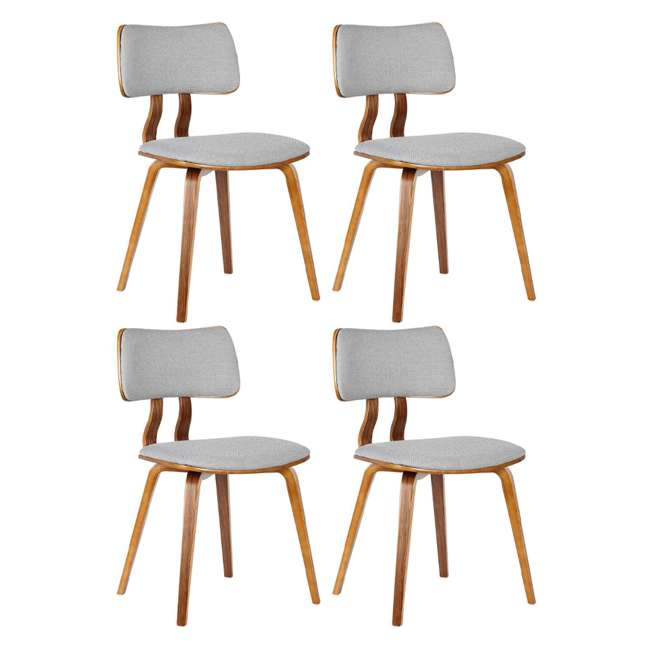 4 x LCJASIWAGRAY Armen Living Jaguar Mid Century Walnut Wood Dining Chair, Gray (4 Pack)