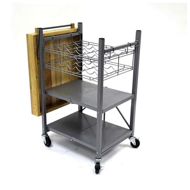 RBT-04 + R-KC-01 Origami Kitchen Island Bar Cart with Double Wine Rack 7