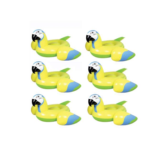 6 x 2183246-MW Margaritaville Rideable Parrot Inflatable Float, Yellow (6 Pack)
