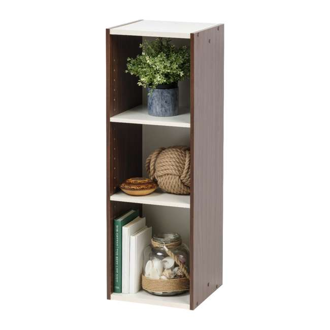 596308 IRIS USA 596308 Space Saving Adjustable Stackable Shelf Organizer, Walnut Brown 1