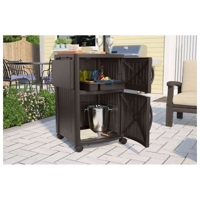 DCP2000JD Suncast Outdoor Meal Serving Station and Cabinet, Brown (2 Pack) 4