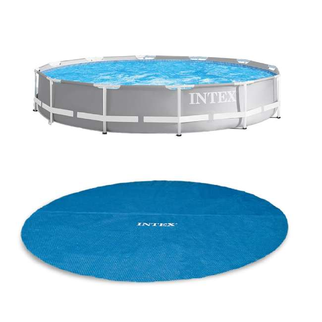 26711EH + 29022E Intex 12ft x 30in Prism Frame Above Ground Pool w/ Pool Solar Cover Tarp, Blue