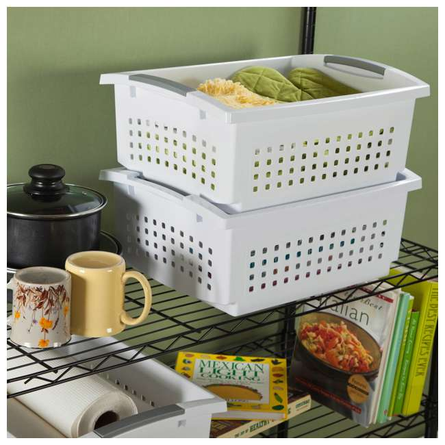 48 x 16608006 Sterilite 16608006 Small Stacking Basket with Titanium Accents, White (48 Pack) 2