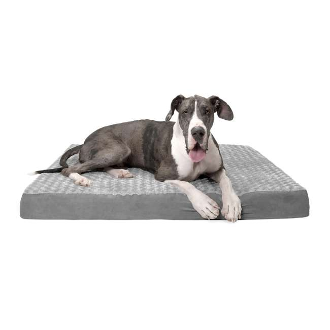 32635087 Furhaven 32635087 Jumbo Plus Ultra Plush Top Deluxe Mattress Pet Dog Bed, Gray 1