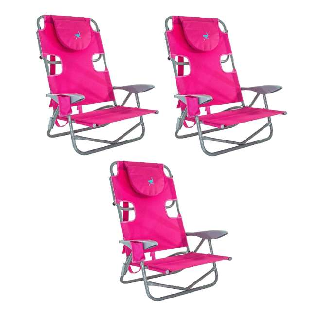 3 x OYB-1003P Ostrich On-Your-Back Outdoor Lounge 5 Position Reclining Beach Lake Chair 3 Pack