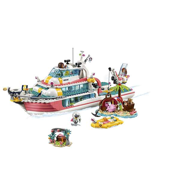 6251666 LEGO Friends Rescue Mission Boat 908 Piece Block Building Kit with 5 Minifigures 1