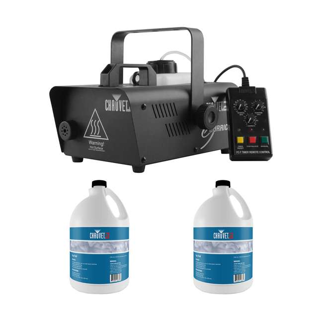 H1600 + 2 x FJU CHAUVET DJ Fog Machine with Wired Remote + 1 Gallon Bottle of Fog Juice (2 Pack)