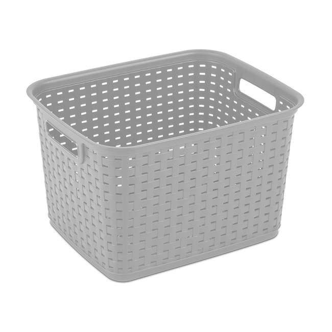 6 x 12736A06-U-A Sterilite Tall Weave Plastic Laundry Hamper Storage, Gray (Open Box) (6 Pack)