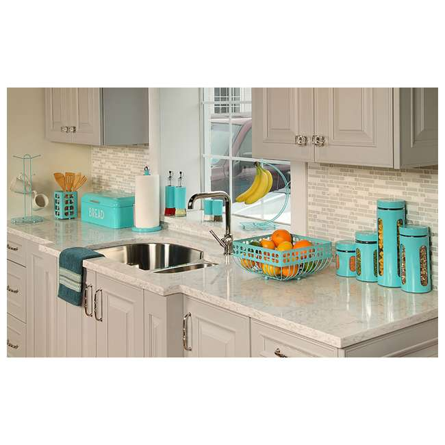 OV44972 Home Basics Essence 2-Piece Oil and Vinegar Set, Turquoise 2