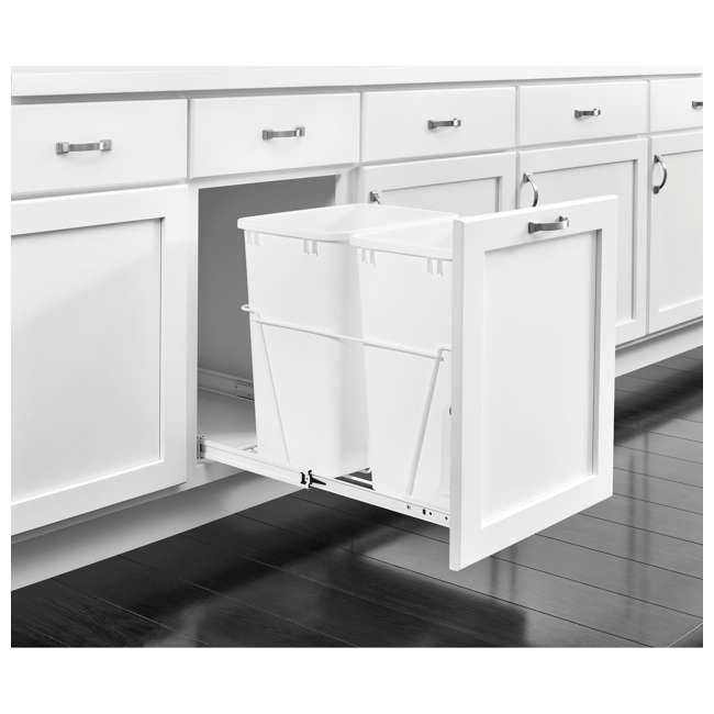 RV-18PB-2 S Rev-A-Shelf RV-18PB-2 S Double 35 Quart Pull-Out Kitchen Waste Containers, White 2