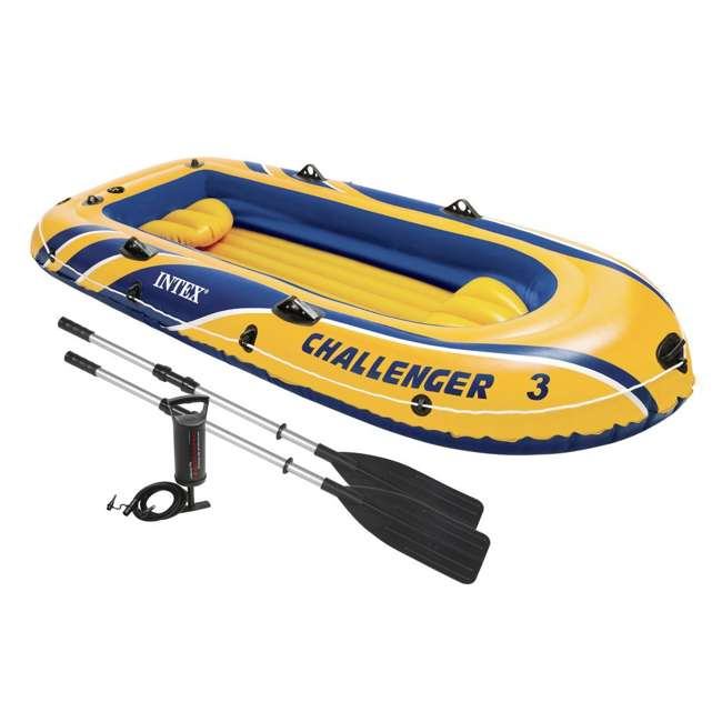 68370EP Intex Challenger 3 Inflatable Boat Set With Pump And Oars