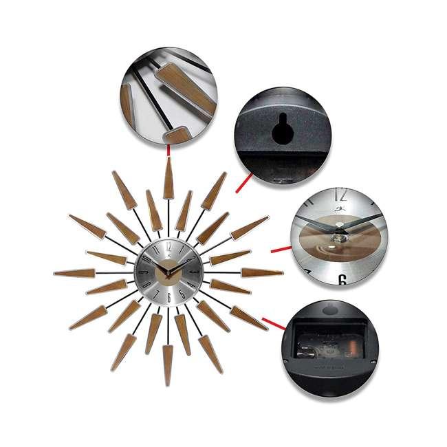 15196WL-4127 Infinity Instruments Sunburst Mid-Century Metal Satellite Wall Clock, Walnut 3
