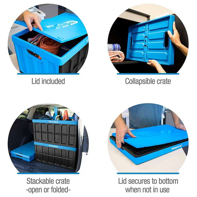 8034119-21843PK CleverMade Durable Stackable 62L Collapsible Storage Bins, Neptune Blue (3-Pack) 3