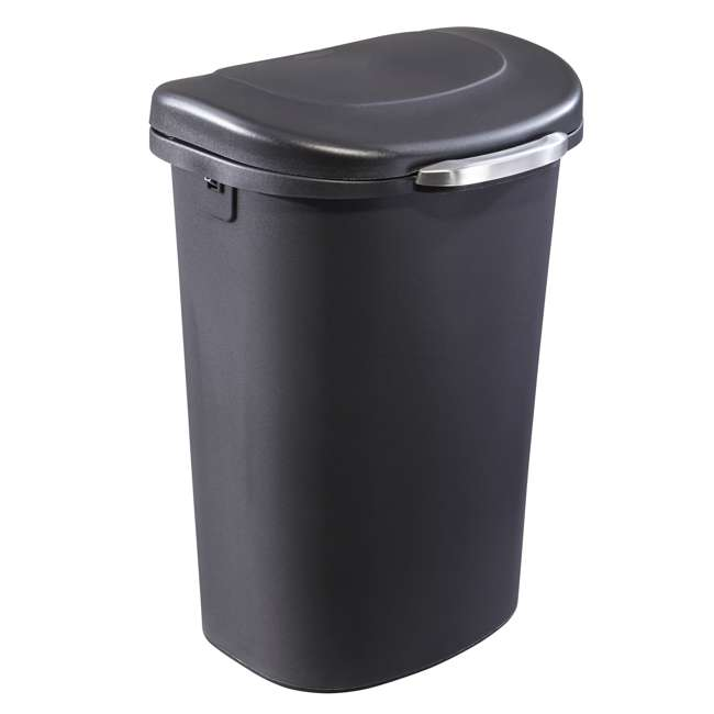 1843027 Rubbermaid Touch Top 13 Gallon Plastic Wastebasket Trash Can w/ Lid & Liner Lock