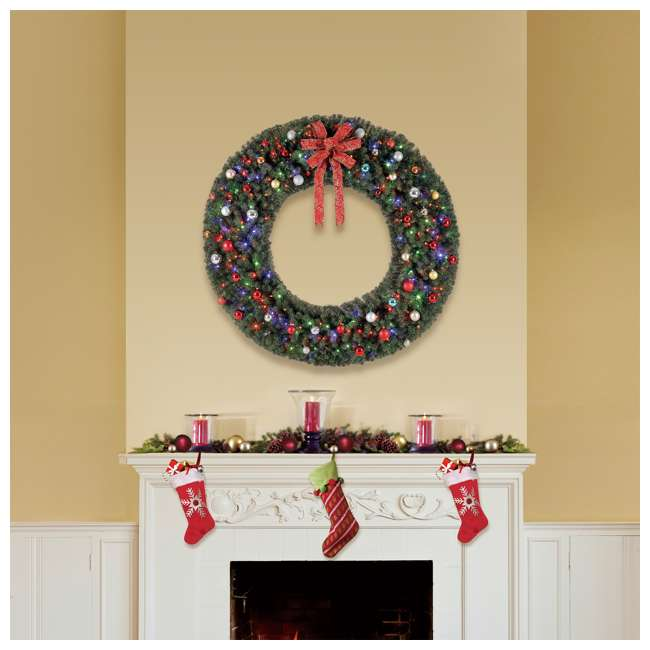 GD6000CYKD00 Home Heritage 72 Inch Holiday Christmas Wreath X1500 Tip w/ 400 Color LED Lights 3