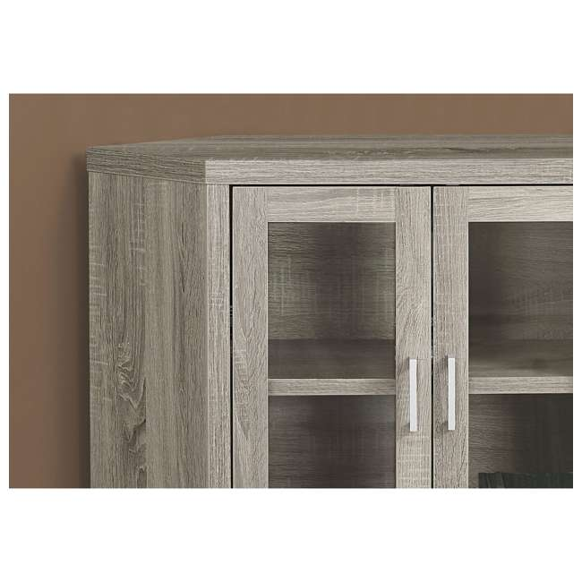 VM-2701 Monarch Specialties Modern Corner Television Stand with Glass Doors, Dark Taupe  2