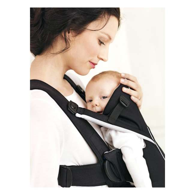 096065US BabyBjorn Baby Carrier Miracle - Black/Silver, Soft Cotton 4