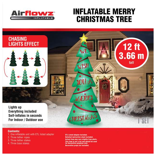 BAN-92683 Airflowz 12 Foot Light Parade Inflatable Christmas Tree with Built In LED Lights 2