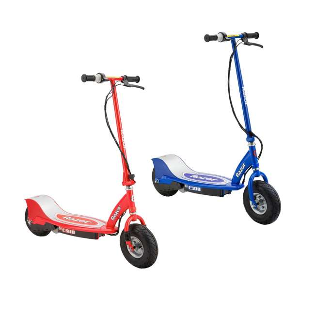 13113697 + 13113640 Razor E300 Electric Motorized Scooters, 1 Red & 1 Blue
