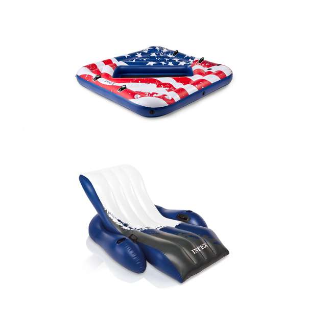 57264VM + 58868EP Intex Inflatable American Flag 2 Person Pool Float w/ Intex Floating Lounge w/ Cup Holders