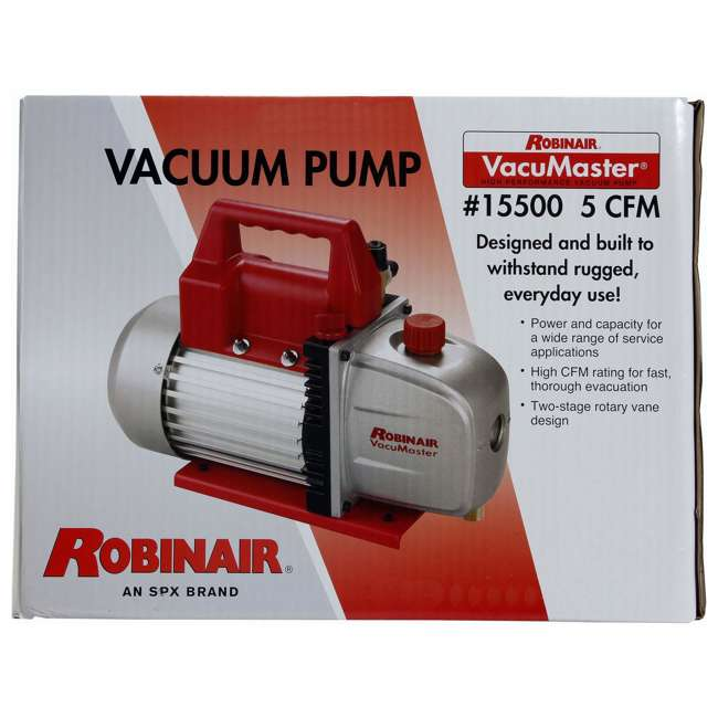 ROB-15500 + RB-48510 Robinair Heavy Duty 1/3 HP 2 Stage Vacuum Pump with Refrigerant Manifold Set 4