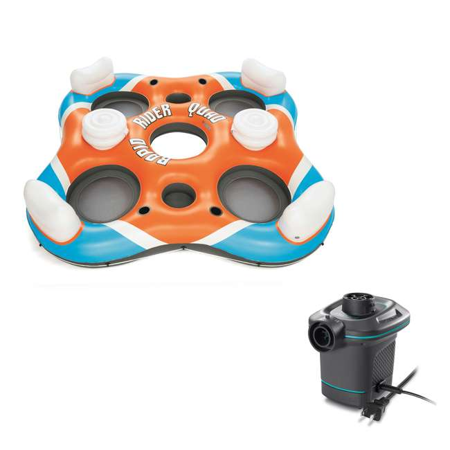 43115E-BW + 66639E Bestway 4 Person Raft + Electric Air Pump