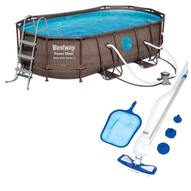 56715E-BW + 58234E-BW Bestway 14ft x 8ft x 3.3ft Power Swim Vista Pool Set with Pump & Cleaning Kit