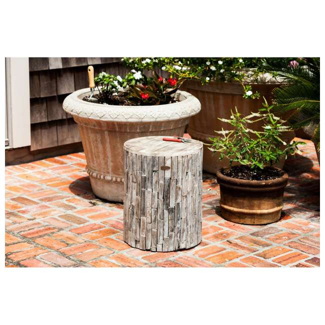 62420 Fire Sense Elyse Round Reclaimed Wood Garden & Patio Stool 5
