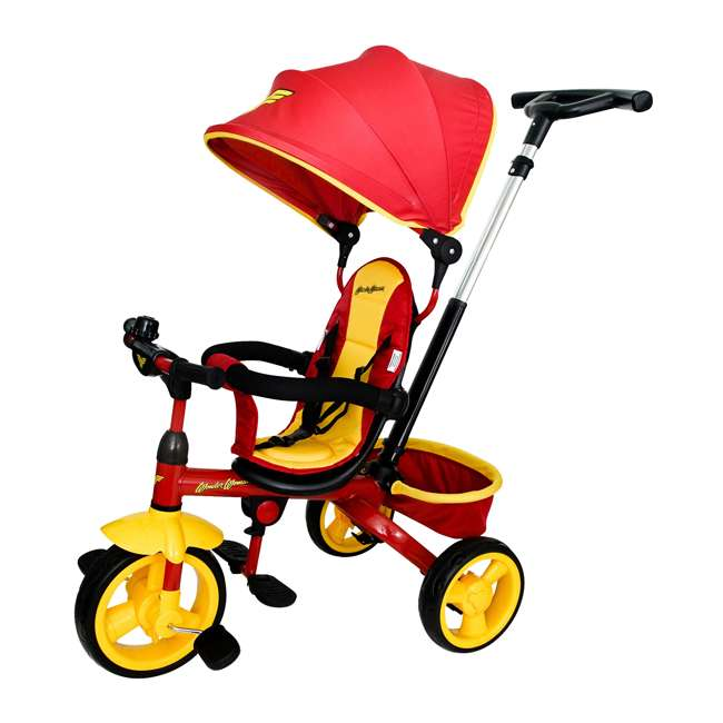 7501WWM Kids Embrace Wonder Woman 4-in-1 Push and Pedal Toddler Trike and Stroller, Red