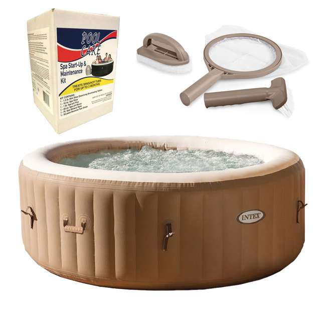 28403E + 28004E + QLC-14890 Intex PureSpa Inflatable Spa, Accessory Kit, & Chemical Kit