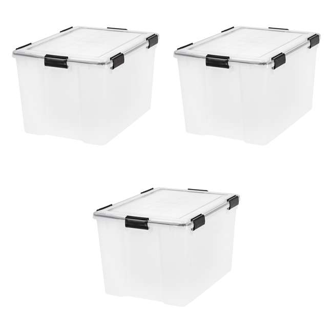 3 x 110586 IRIS USA Weathertight 74 Quart Buckle Down Storage Latch Box Container (3 Pack)